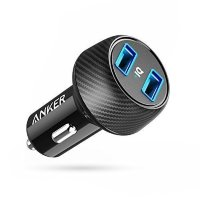 Автомобильная зарядка Anker PowerDrive 2 Elite 24W 2-Port PowerIQ для iPhone XS / X / 8 / 7 / 6s / Plus, iPad , Samsung, Huawei, LG, Xiaomi, Oneplus, A2212H11 (Черный цвет)