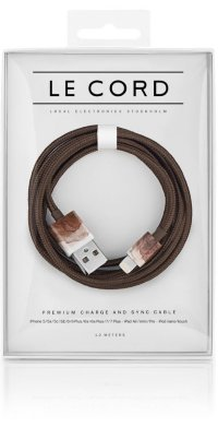 Кабель Le Cord Aquarells Brown, MFI, для iPhone XS Max,XR,X,8,8+,6/6 Plus/6S/7/7 Plus/5, iPad mini/Air/Pro, iPod Nano/Touch (Коричневый)